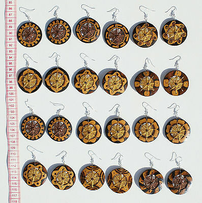 Lot 8 Pairs Coconut Natural Color Dream Catchers Earrings Handcrafted Jewelry