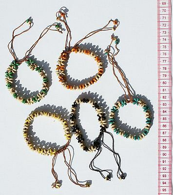 Lot 5 Bracelets Handmade Handcrafted Colored Beads Woven Ethnic Jewelry Crafts