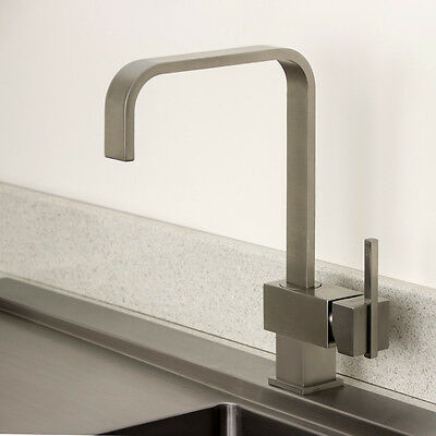 Astini Rubicon Brushed Steel Single Lever Kitchen Sink Mixer Tap HK57