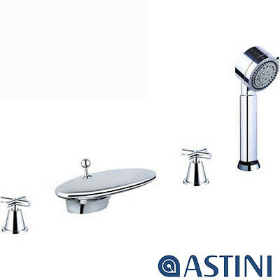 Astini Orpheus Chrome 4 Hole Waterfall Bath Shower Mixer Tap & Shower Kit HBS13
