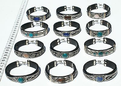 Lot 9 Handmade Leather Bracelets with Natural Peruvian Stones Variety of Colors