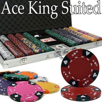 New 750 Ace King Suited 14g Clay Poker Chips Set w/ Aluminum Case - Pick Chips!