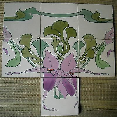 GERMANY - ANTIQUE ART NOUVEAU MAJOLICA 7-TILE SET C1900