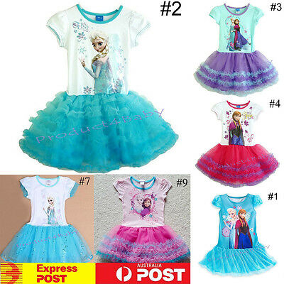 NEW Girl Tutu Dress Disney Frozen Princess Anna Elsa Mermaid size: 1-8 years