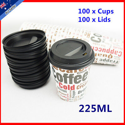Free postage100 set 8oz Paper Disposable Coffee Cups  Lids Cafe Take Away Large
