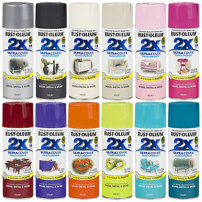 Rust-Oleum 2X Ultra Cover Spray Paint + Primer Gloss Satin Flat Double Coverage