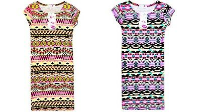 Girls Bright Aztec Print Midi Bodycon Dress Summer Pink Age 7 8 9 10 11 12 13