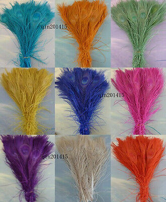 Wholesale 10-100pcs natural peacock tail feathers 25-30cm / 10-12inches