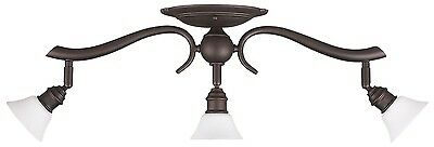 Oil Rubbed Bronze 3 Light Ceiling Track Lighting Fixture, Frosted Opal Glass