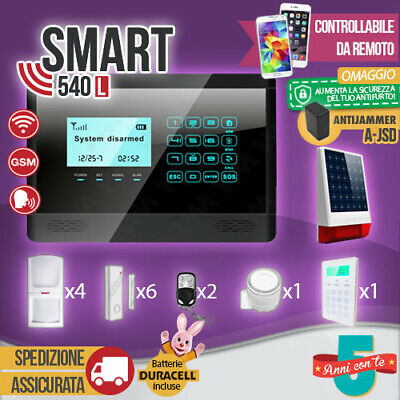 Kit Antifurto Casa Allarme Touch Screen Combinatore Gsm / App Wireless Smart540L
