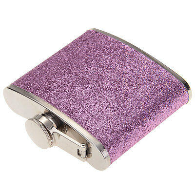 5oz Stainless Steel PU Alcohol Drink Liquor glitter Hip Flask Gift Purple Cup
