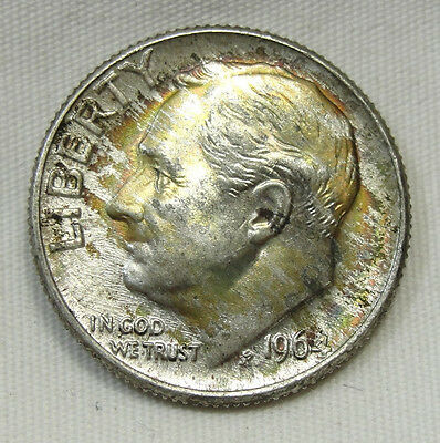1964-D 10C Roosevelt Dime, SILVER, TONED, UNCIRCULATED, #511