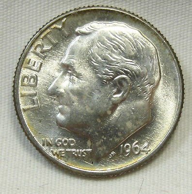 1964-D 10C Roosevelt Dime, SILVER, TONED, UNCIRCULATED, #510