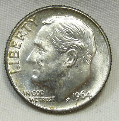 1964-D 10C Roosevelt Dime, SILVER, TONED, UNCIRCULATED, #508