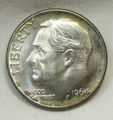 1964-D 10C Roosevelt Dime, SILVER, TONED, UNCIRCULATED, #509