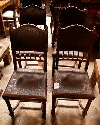 4 Antique Spanish Chair Renaissance Style Leather Embossed Walnut ¡see Inside!