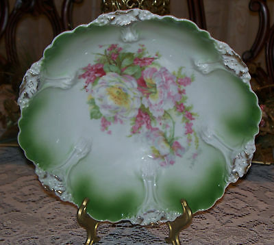 """German Large10 1/4"""" x 3 1/4"""" tall White Green Bowl Pink and White Roses stamped"""