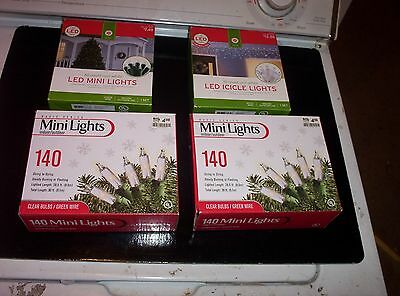 Lot of 4 boxes LED White and Standard White Christmas Lights-New in Boxes
