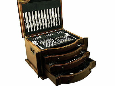 Antique Sterling Silver Canteen of Cutlery for Twelve Persons - 222 Pieces