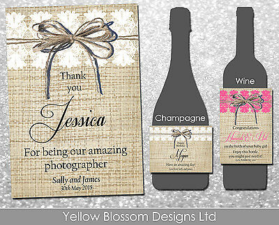 Personalised Wine Champagne Bottle Label Wedding Party Thank You Vintage Rustic