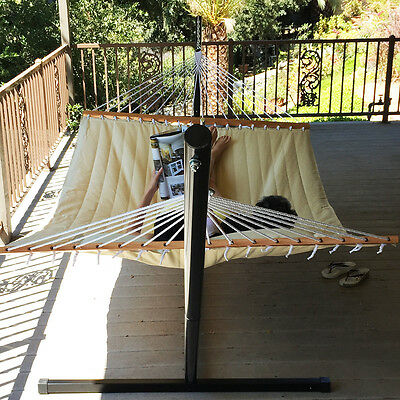 New Beige Quilted Fabric Double Spreader Bar Pillow Hammock Patio Double
