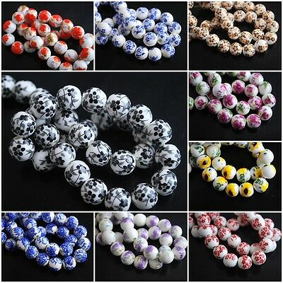 Wholesale 26Colors Charms Flower Round Porcelain Beads Spacer Craft Jewelry 10mm