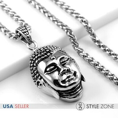 Men Stainless Steel Gothic Vintage Buddha Head Pendant w Braid Link Necklace Q15