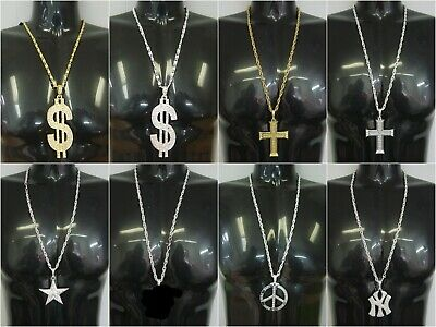 Various Bling Pimp Gangster Necklaces Fancy Dress Party Hip Hop (BL)