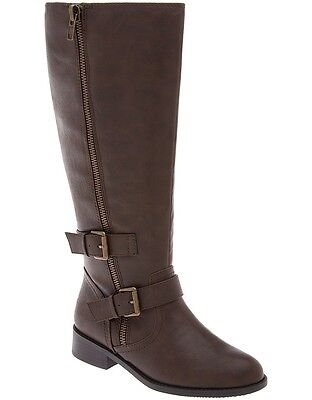 New Lane Bryant Women Buckled Riding Boot Brown Size 9W