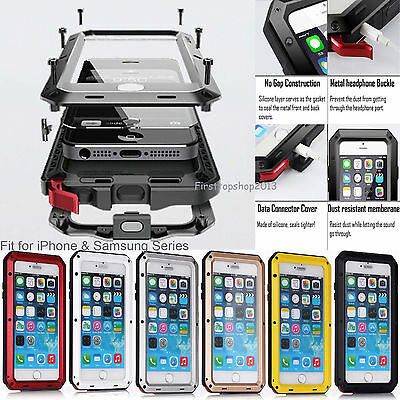 Waterproof Shockproof Metal Gorilla Glass Cover Case for iPhone 7/8+/X Samsung