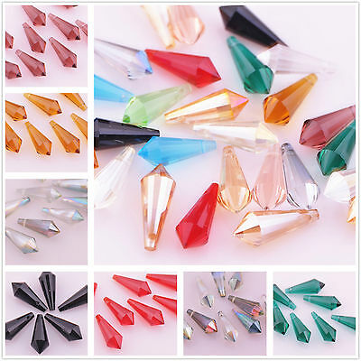 10pcs 20x8mm Chandelier Faceted Crystal Glass Hanging Drop Pendant Loose Beads