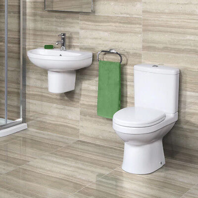 Bathroom Suites Close Coupled Toilet Pan Cloakroom Basin Sink WC Wall Hung Sink