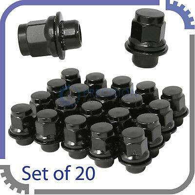 20pc OEM Black Mag Lug Nuts with Washer | 12x1.5 | for Stock Mitsubishi Wheels