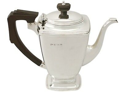 Antique George VI Sterling Silver Coffee Pot Art Deco