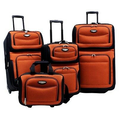 Traveler's Choice Amsterdam 4 Piece Travel Luggage Set - Orange