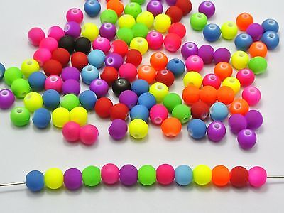 """500 Mixed Matte Neon Color Acrylic Round Beads 6mm(0.24"""") Jewelry Making"""