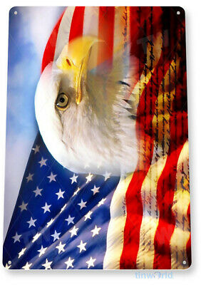 TIN SIGN Eagle Flag Bald American Stars Stripes Metal Décor Patriotic Art A348