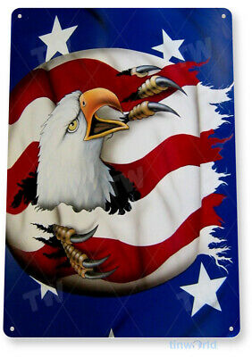 TIN SIGN Eagle Rip Bald American Stars Stripes Metal Décor Patriotic Shop A349