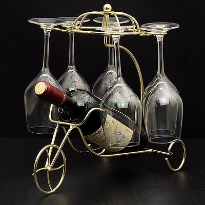 Metal Wine Rack Bottle Glass Holder Table Stand Carrier Homeware