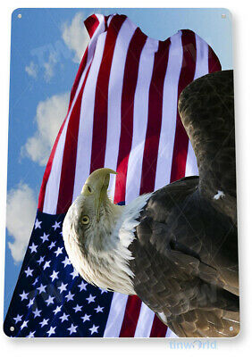 TIN SIGN Eagle Wind Bald American Stars Stripes Metal Décor Art Patriotic A350