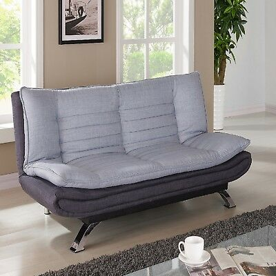 Sofa Bed Duck Egg Grey and Charcoal Fabric Covered with Chrome Legs New