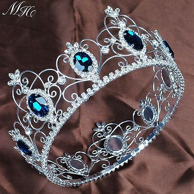 "Queen Princess 3.5"" Full Circle Tiara Simulated Blue Sapphire Crown Pageant Prom"
