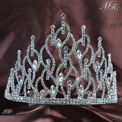 Impressive Tiara Hair Combs Rhinestone Crystal Crown Bridal Prom Party Headpiece