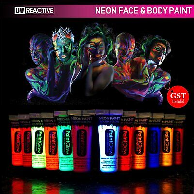 NEW 8X UV Glow Neon  Face & Body Paint Gel 10ml Fluoro + 1 UV Torch Party Makeup