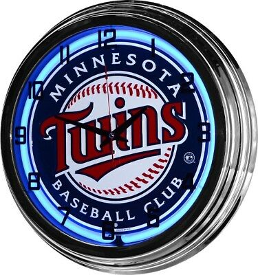 "17"" Retro Blue Neon Minnesota Twins MLB Man Cave Game Room Wall Clock Sign NEW"