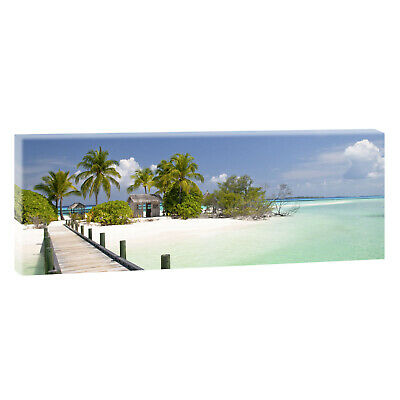 panoramabild auf leinwand bild poster meer strand wandbild xxl 120 cm 40 cm 204 eur 24 50. Black Bedroom Furniture Sets. Home Design Ideas
