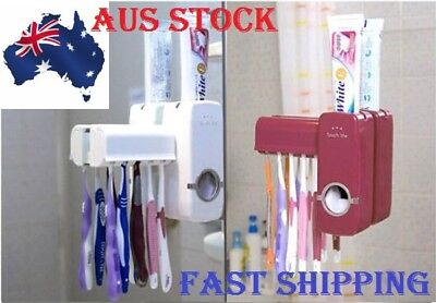 Automatic Toothpaste Dispenser And Toothbrush Holder Set Wall Mount Rack