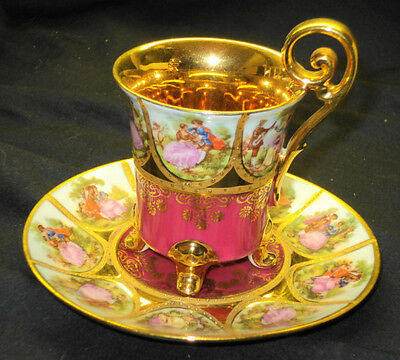 JKW CARLSBAD ONE SET DEMI TEA CUP AND SAUCER  FRAGONARD 4 FOOTED - QTY AVAIL
