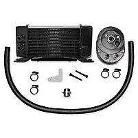 Jagg Horizontal Low-Mount Chrome Oil Cooler Kit 84-08 Flh Touring 10 Row Harley