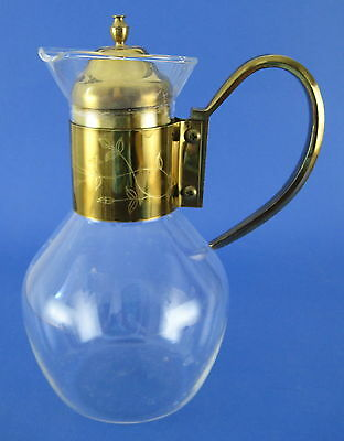 Glass Decanter Carafe Pitcher Brass Etched Floral Band w Lid